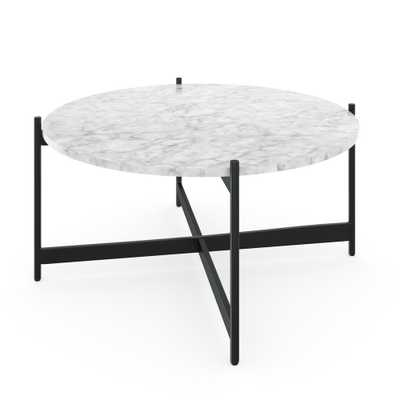 Nathan James Piper White Faux Marble Black Metal Frame Round Modern Living Room Coffee Table, White/Black - Home Depot
