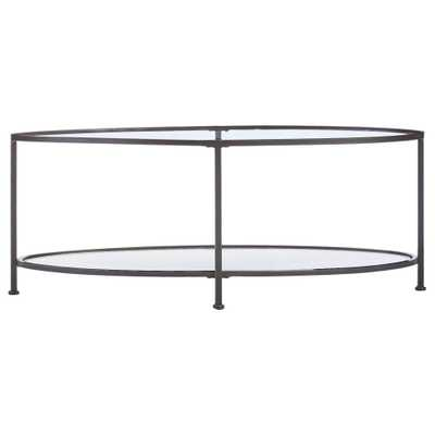 Bella Aged Bronze Oval Glass Coffee Table - Home Depot