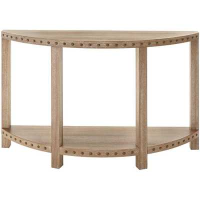 Nailhead Light Washed Oak Console Table - Home Depot