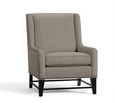 Berkeley Upholstered Armchair Polyester Wrapped Cushions Performance Everydayvelvet(TM) Carbon - Pottery Barn