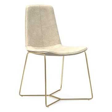 Slope Dining Chair, Antique Brass Leg, Distressed Velvet, Light Taupe, Antique Brass - West Elm