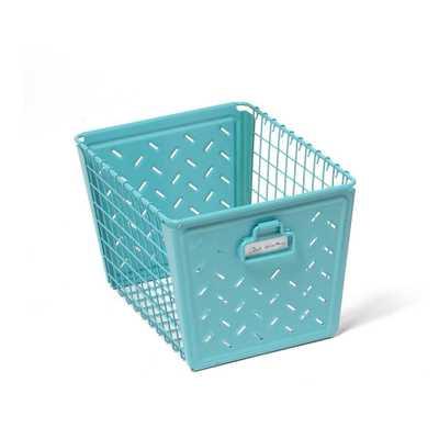 Macklin Medium Metal Basket in Teal, Turquoises/Aquas - Home Depot