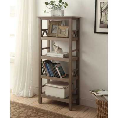 Titian Rustic Gray Open Bookcase - Home Depot