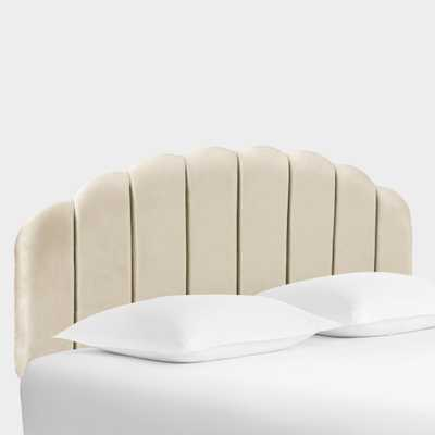 Velvet Channel Back Deco Upholstered Headboard - Full/Oyster by World Market Full/Oyster - World Market/Cost Plus