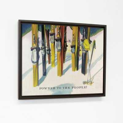 'Powder to the People Vintage Ski' Framed Print on Canvas - Wayfair