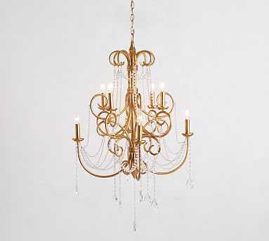 Luciana Crystal Chandelier, Antique Gilded Finish - Pottery Barn