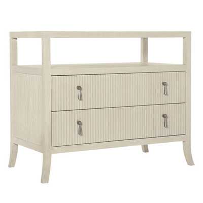 Alice Modern Classic Beige Two Drawer Open Shelf Dresser - Kathy Kuo Home