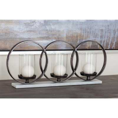 Glass, Aluminum and Marble 3-Light Candle Holder, Clear/Black/White - Home Depot