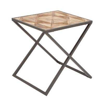 Metal and Wood End Table - Wayfair