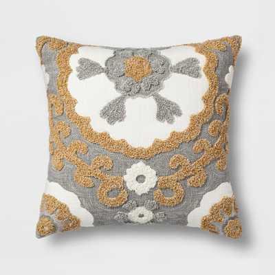 Medallion Square Throw Pillow Gray/Gold - Threshold - Target