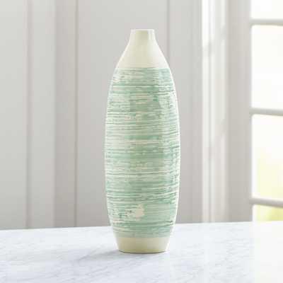 Camila White and Aqua Vase - Crate and Barrel