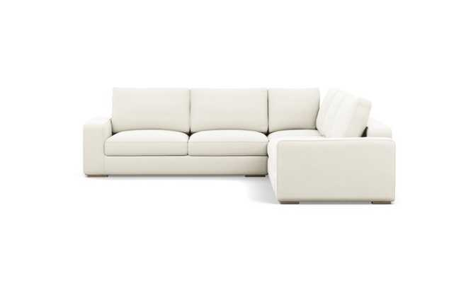 Ainsley Corner Sectional with Ivory Fabric and Natural Oak legs - Interior Define