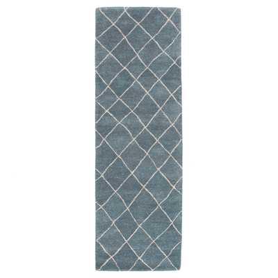 "Gem Handmade Geometric Blue Runner Rug (2'6"" X 8') - Collective Weavers"