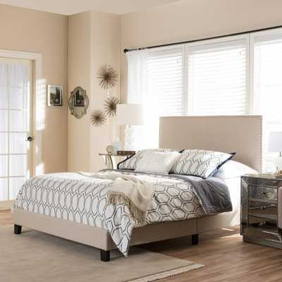 Ramon Beige Queen Upholstered Bed - Home Depot