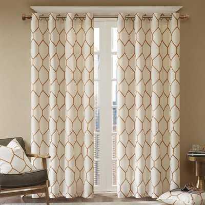 Almaguer Geometric Semi-Sheer Grommet Single Curtain Panel - AllModern