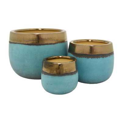 Ceramic Planter (Set of 3), Blue - Home Depot