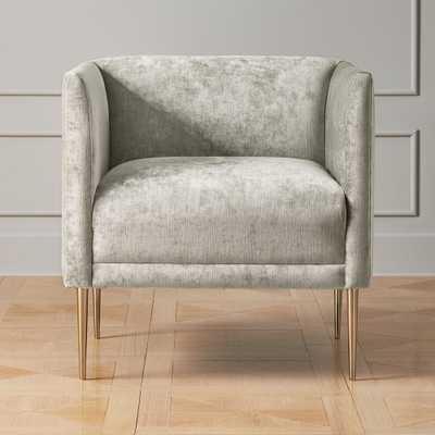 Marais Shadow Grey Velvet Armchair with Brass Legs - CB2