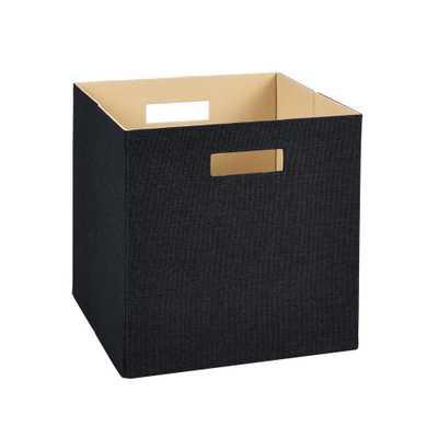 13 in. H x 13 in. W x 13 in. D Decorative Fabric Storage Bin in Black - Home Depot