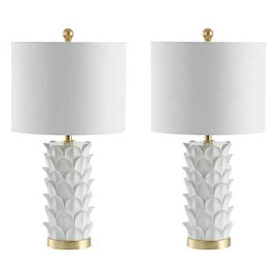 Safavieh Nico 25 in. White/Gold Leaf Table Lamp (Set of 2) - Home Depot