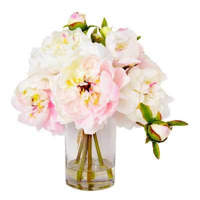 Faux Cream & Pink Peony Floral Arrangement in Vase - Birch Lane