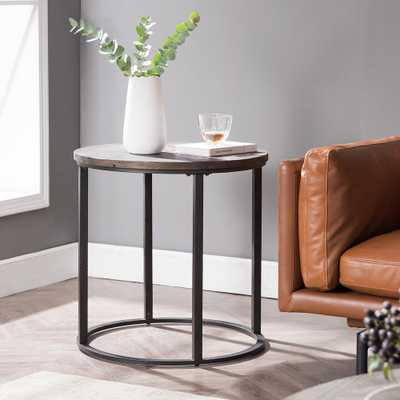 Southern Enterprises Latta Natural Finish Reclaimed Wood Round Industrial End Table, Natural reclaimed wood and black finish - Home Depot