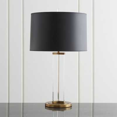 Gleam Crystal/Brass Black Shade Table Lamp - Crate and Barrel