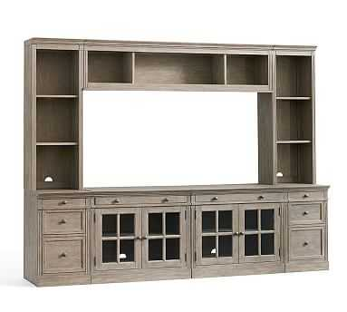 Livingston Medium Media Suite With Drawers, Gray Wash - Pottery Barn