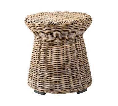 Rattan Round End Table, Gray - Pottery Barn