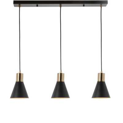 JONATHAN Y Apollo 33.5 in. 3-Light Adjustable Modern Metal LED Pendant, Black/Brass Gold - Home Depot