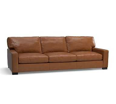 """Turner Square Arm Leather Grand Sofa 103.5"""", Down Blend Wrapped Cushions, Signature Maple - Pottery Barn"""