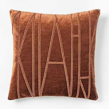 """Velvet Applique Pillow Cover, 20""""x20"""", Copper - West Elm"""