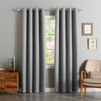 Best Home Fashion 84 in. L Grey Linen Print Room Darkening Curtain Panel (2-Pack) - Home Depot