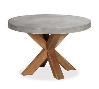 "Abbott Round Dining Table with Concrete Top, 48"" - Pottery Barn"