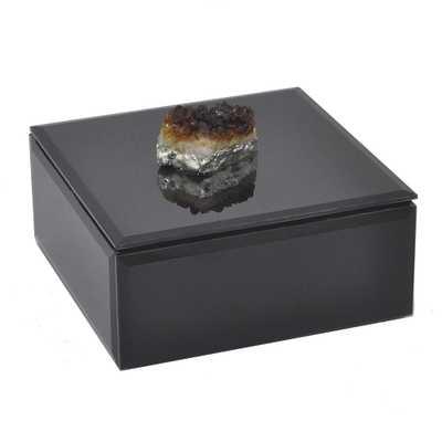 Black Glass Box with Agate Stone, Blacks - Home Depot