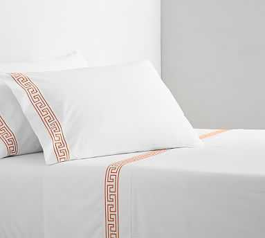 Geo Embroidered Organic Sheet Set, Queen, Coral - Pottery Barn