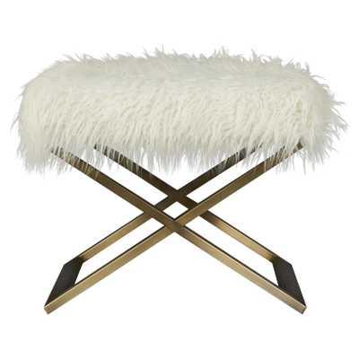 Sheena Hollywood Regency White Fur Bronze Metal Stool - Kathy Kuo Home