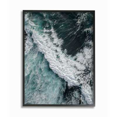 "The Stupell Home Decor Collection 24 in. x 30 in. ""Coastal Ocean Waves Landscape Photography"" by Design Fabrikken Framed Wall Art, Multi-Colored - Home Depot"