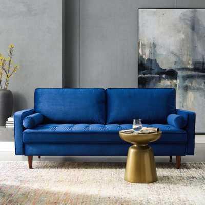 MODWAY Valour Performance Velvet Sofa in Navy, Blue - Home Depot