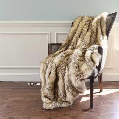 Wild Mannered 58 in. x 60 in. Kitt Fox Faux Fur Throw - Home Depot