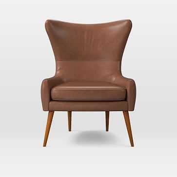 Erik Wing Chair, Charme Leather, Cigar - West Elm