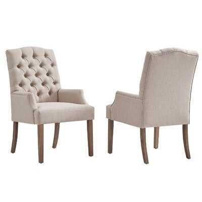 Lila Tufted Linen Upholstered Arm Chair - Wayfair
