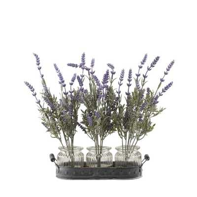 D&W Silks Indoor Lavender Branches in Glass Jars Set On Oval Metal Tray - Home Depot