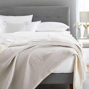 Double Cloth Blanket, Full/Queen, Stone Gray - West Elm
