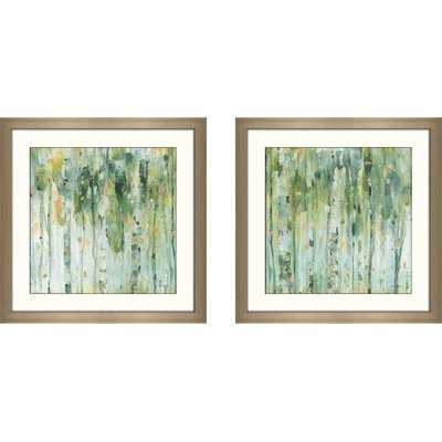 'The Forest II' 2 Piece Framed Watercolor Painting Print Set - Wayfair