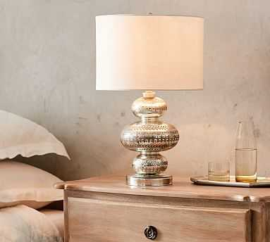 """Gia Mercury 19.25"""" Stacked Table Lamp With Medium Gallery Straight Sided Linen Drum Shade, White - Pottery Barn"""