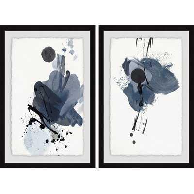 'Dark Strokes' 2 Piece Framed Acrylic Painting Print Set - Wayfair