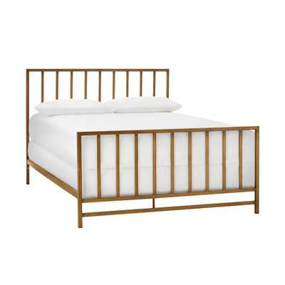 StyleWell Zandria Brushed Gold Metal Full Bed with Slats (56.5 in W. X 48.03 in H.) - Home Depot