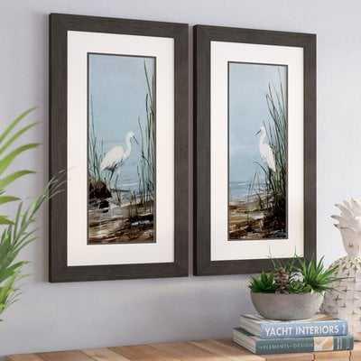 'Island Egret' 2 Piece Framed Print Set - Wayfair