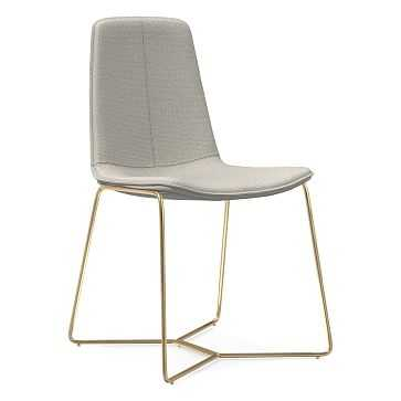 Slope Dining Chair, Antique Brass Leg, Basket Slub, Feather Gray, Antique Brass - West Elm