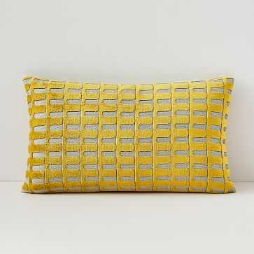 "Cut Velvet Archways Lumbar Pillow Cover, 12""x21"", Dark Horseradish - West Elm"